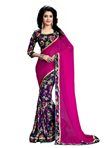 Oomph! Women's Chiffon Saree with Blouse Piece Price in India