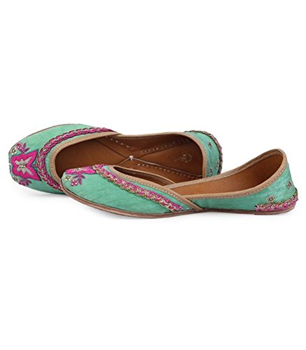 Shilpsutra Green Dancing Butterfly Ethnic Footwear for Girls - Silk Material Green & Pink Color Elegant Jutti for Women Size 40 Price in India