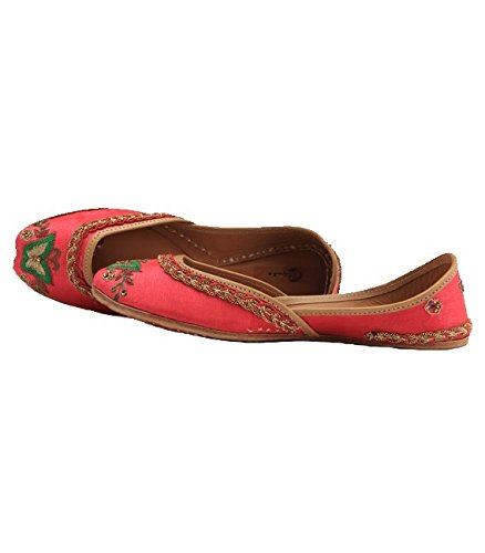 Shilpsutra Pink Dancing Butterfly Ethnic Footwear for Girls - Silk Material Pink Color Elegant Jutti for Women Size 39 Price in India