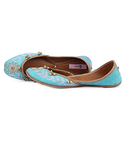 Shilpsutra Aqua Ethnic Footwear for Girls - Silk Material, Embroidered Aqua Blue Color Elegant Jutti for Women Size 40 Price in India