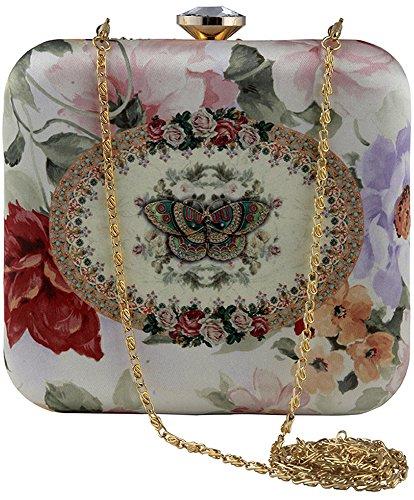 Puneet Gupta Butterfly Women's White Designer Clutch Price in India