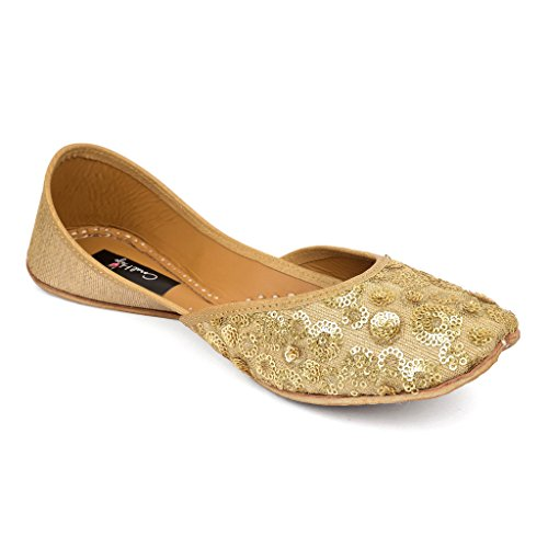 Coral Haze Gold Sequins & Zari Hand Embroidered Fashionable Juttis UK/IND 7 Price in India