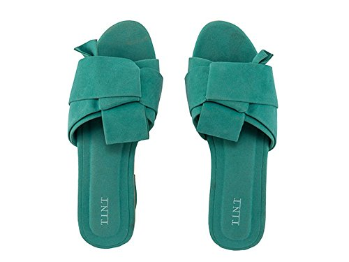 TINT Women's Knot So Fair Block Heel Teal Fashion Sandals - 4 UK/India Price in India