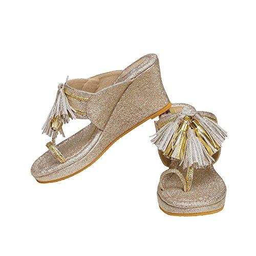 TINT Women's Tasseled Teaser Kolapuri Gold Fashion Sandals - 5 UK/India Price in India