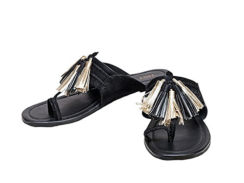 TINT Women's Tasseled Teaser Kolapuris Black Fashion Sandals - 8 UK/India Price in India