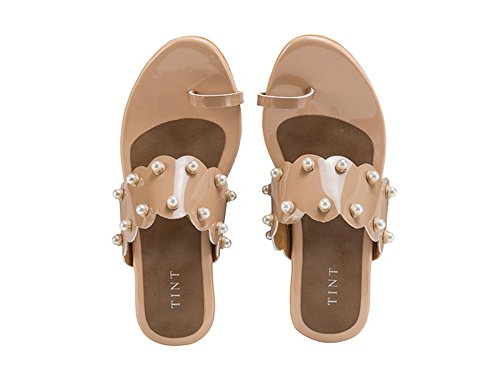 TINT Women's The Dainty Pearl Beige Fashion Sandals - 4 UK/India Price in India