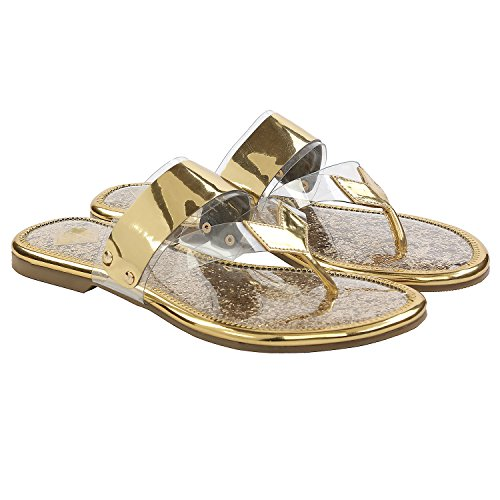 Gush Shoes & Accessories Women's Gold Flip-Flops - 7 UK/India Price in India
