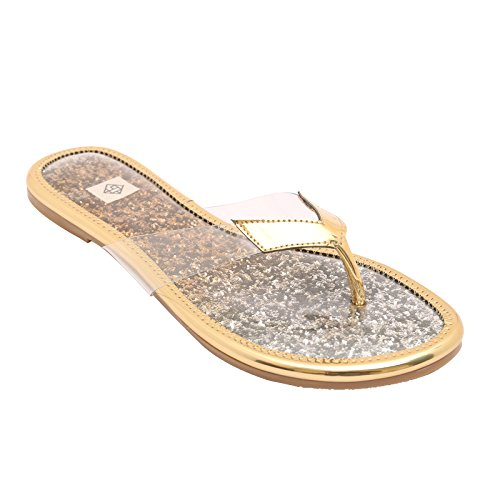 Gush Shoes & Accessories Women's Gold Flip-Flops - 8 UK/India Price in India