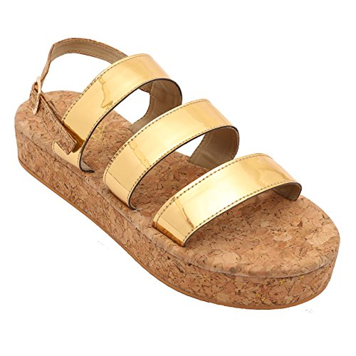 Gush Shoes & Accessories Women's Gold Flip-Flops - 6 UK/India Price in India