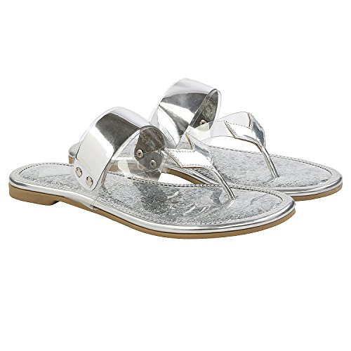 Gush Shoes & Accessories Women's Silver Flip-Flops - 10 UK/India Price in India