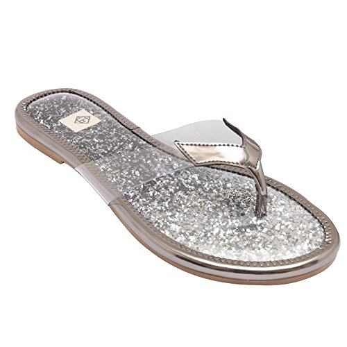 Gush Shoes & Accessories Women's Silver Flip-Flops - 7 UK/India Price in India