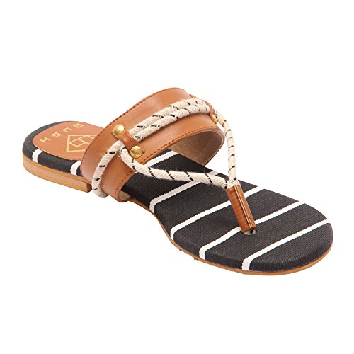 Gush Shoes & Accessories Women's Black Flip-Flops - 5 UK/India Price in India