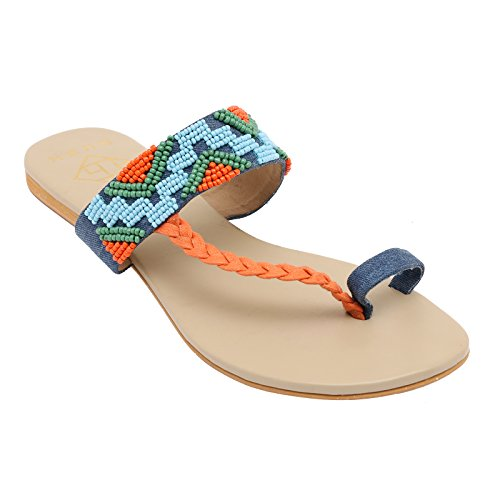 Gush Shoes & Accessories Women's Blue Flip-Flops - 9 UK/India Price in India