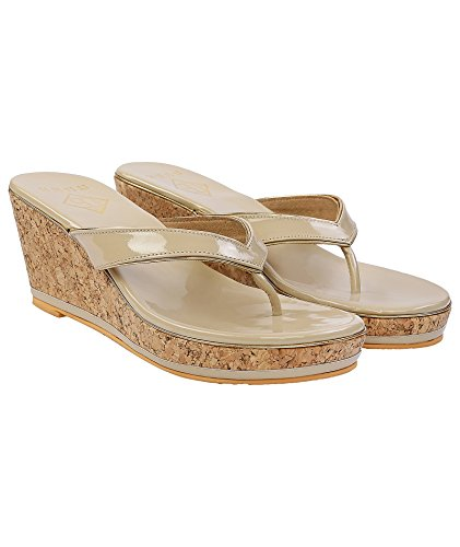 Gush Shoes & Accessories Women's Beige Fashion Sandals - 10 UK/India Price in India