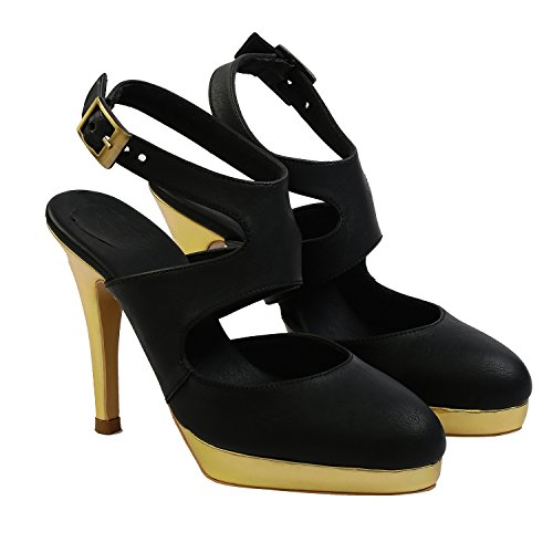 Gush Shoes & Accessories Women's Black Fashion Sandals - 8 UK/India Price in India