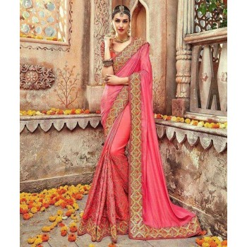 Kanha Fashion Georgette Pink Embroidered Saree - KAN85 Price in India