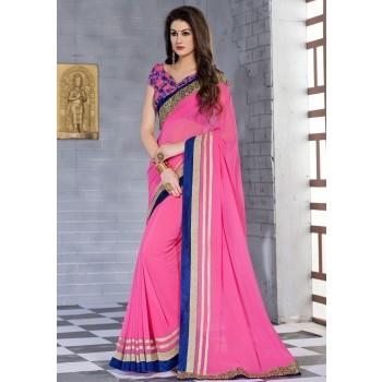 Kanha Fashion Georgette Pink Plain Saree - KAN79 Price in India