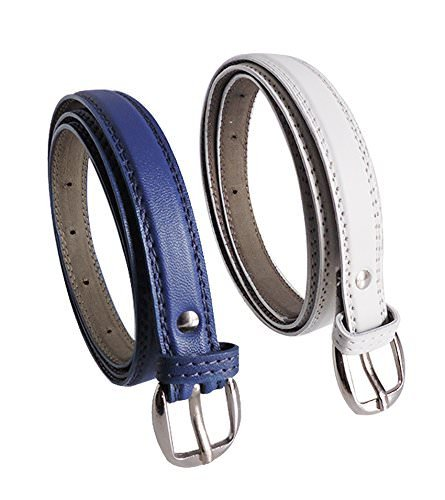 Krystle Women's Combo Set Of 2 PU leather belts Blue & White) Price in India