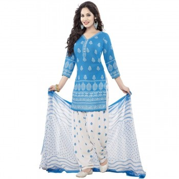 Synthetic Blue Printed Unstitched Patiala Style Suit - NT1667 Price in India