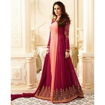 Fashion Basket Kareena Kapoor Georgette Orange & Pink Embroidered Semi Stitched Anarkali Suit - FASB10 Price in India