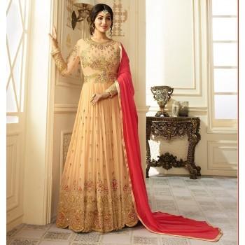 Aadya Ayesha Takia Georgette Cream Embroidered Unstitched Anarkali Suit - AB9013 Price in India