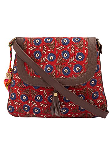 Vivinkaa Red Flower Ethnic Printed Sling Bag for Women Price in India