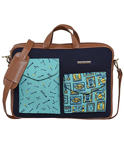 """Funk For Hire Printed Cotton Canvas and Faux Leather Aqua Green and Navy Laptop sling Bag fit up to 17"""" Laptop Price in India"""