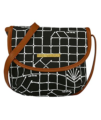 Funk For Hire Printed Black Canvas Crossbody Sling Bag Price in India
