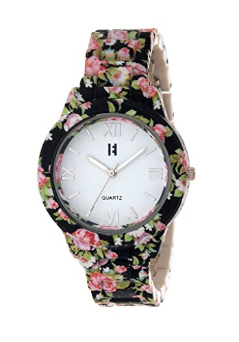 Excelencia CW-21-Black & Pink Floral Print Analog white dial Women's Watch Price in India