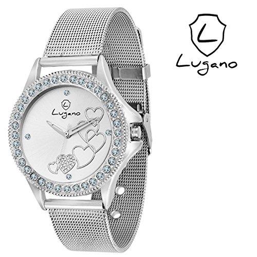 Lugano White Dial Heart Printed Analog Watch-For Women.Girls Price in India