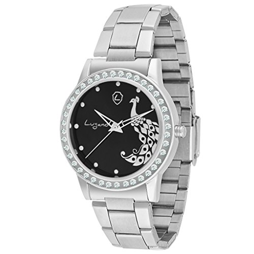 Lugano Black Dial Peacock Printed Analog Watch-For Women.Girls Price in India
