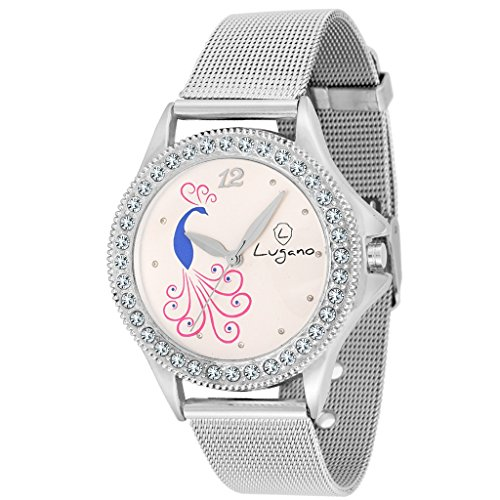 Lugano White Dial Peacock Printed with Studd Analog Watch-For Women.Girls Price in India