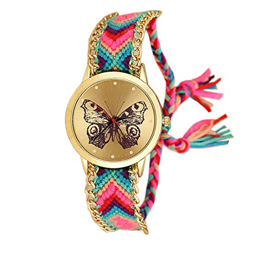 VITREND TM Butter Fly Printed Handmade Braided Analog Rose Gold Dial Women's Watch Price in India