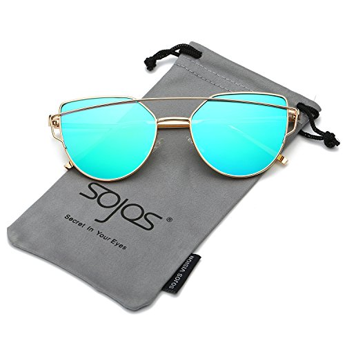 SojoS Cat Eye Mirrored Flat Lenses Street Fashion Metal Frame Women Sunglasses SJ1001 With Gold Frame/Green Mirrored Lens Price in India