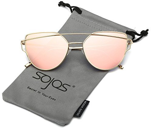 SojoS Cat Eye Mirrored Flat Lenses Street Fashion Metal Frame Women Sunglasses SJ1001 With Gold Frame/Pink Mirrored Lens Price in India