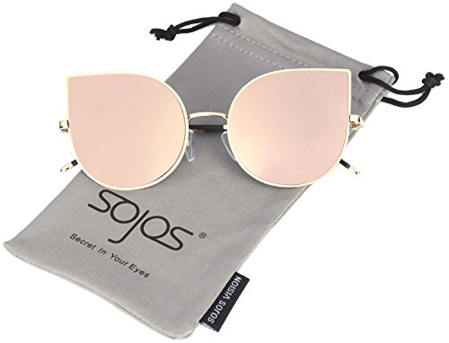 SojoS Cat Eye Mirrored Flat Lenses Ultra Thin Light Metal Frame Women Sunglasses SJ1022 With Pink Lens Price in India