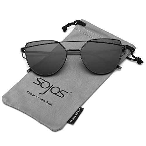 SojoS Cat Eye Mirrored Flat Lenses Street Fashion Metal Frame Women Sunglasses SJ1001 With Black Frame/Grey Lens Price in India