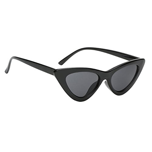 MagiDeal Women Girls Ladies Vintage Cateye Triangle Frame Sunglasses Glasses UV400 - black, as described Price in India
