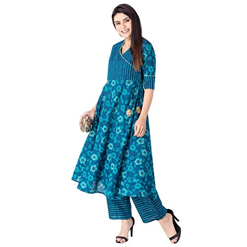 Khushal Women's Cotton Printed Kurta With Palazzo Pant Set Price in India