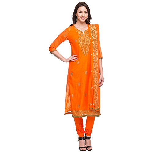 Stop by Shoppers Stop Womens Round Neck Printed Churidar Suit_Orange_44 Price in India