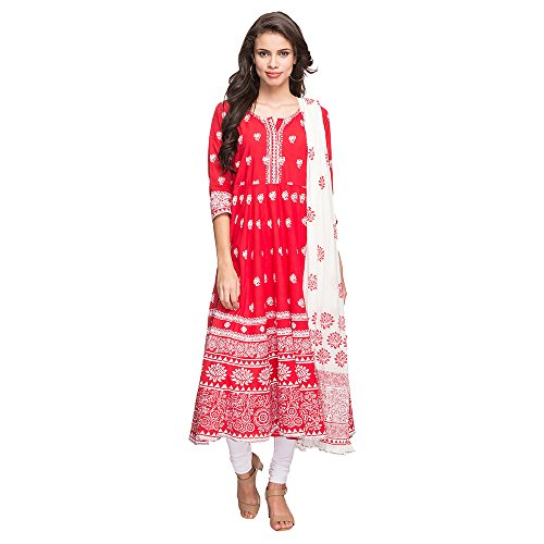 Stop by Shoppers Stop Womens Round Neck Printed Anarkali Churidar Suit Price in India