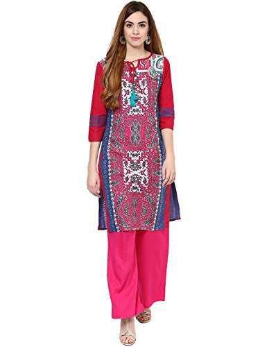 Jaipur Kurti Cotton Complete Set of Blue Kurta and Rani Rayon Palazzo Price in India