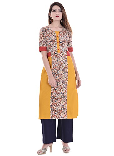 Palakh Women's Cotton Yellow&Beige Kurti With Blue Palazzo Price in India