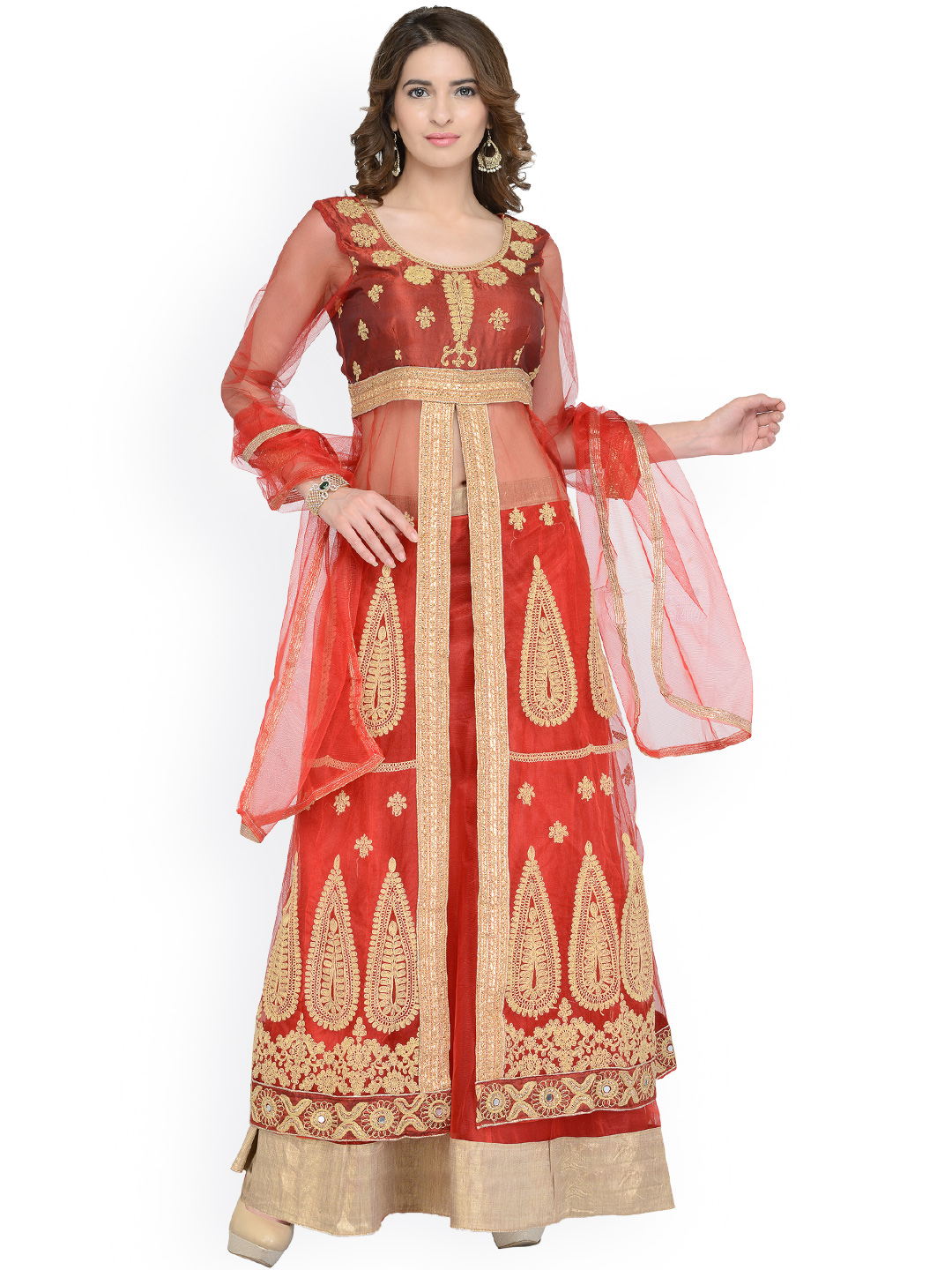 Chhabra 555 Red Embroidered Net Semi-Stitched Lehenga Choli with Dupatta & Jacket Price in India
