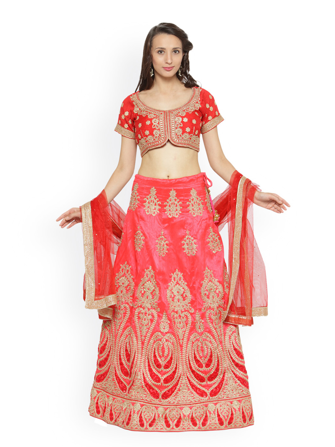 Chhabra 555 Coral Red Embroidered Art Silk Lehenga Choli with Dupatta Price in India