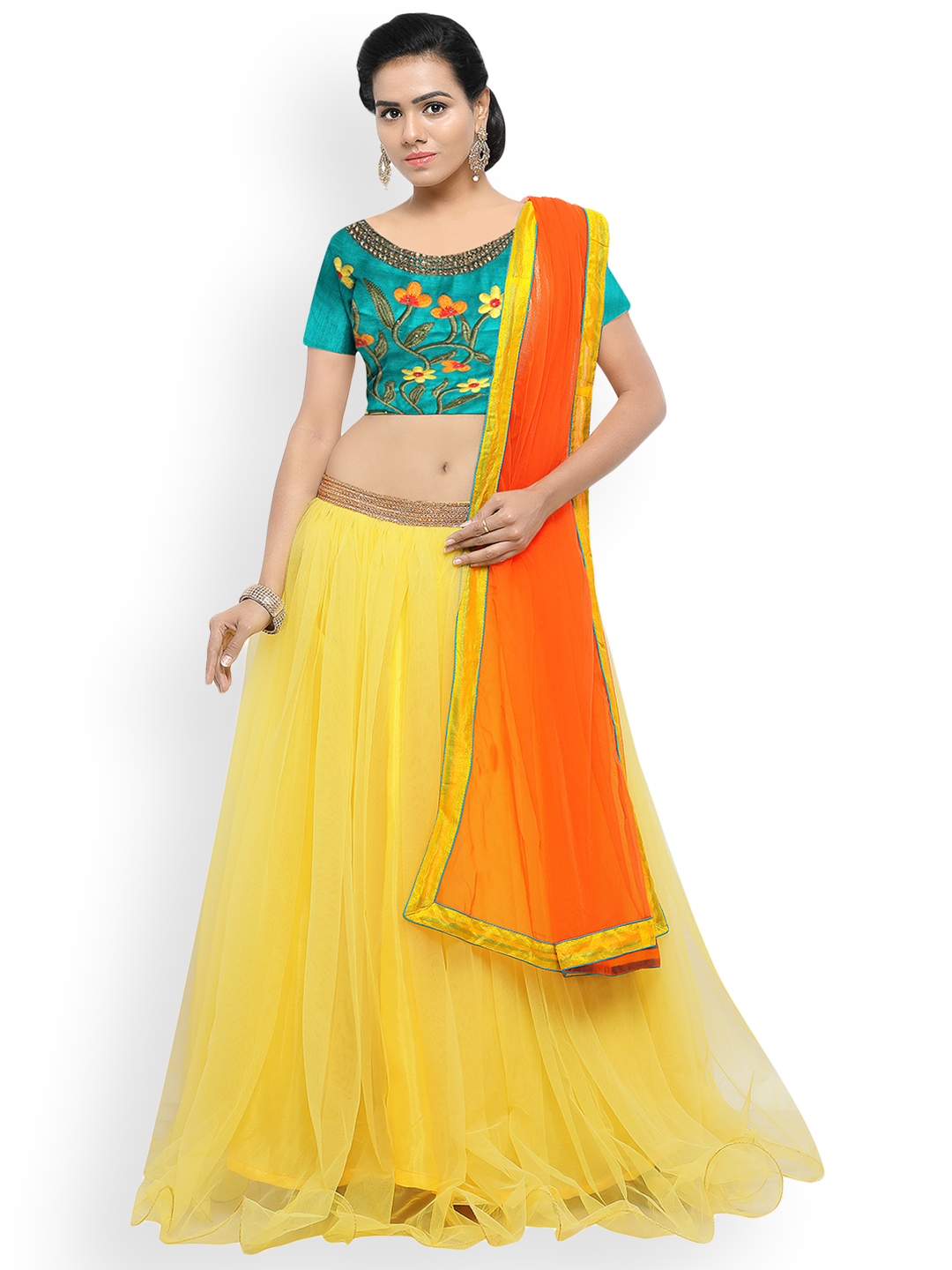 Styles Closet Yellow & Teal Embroidered Semi-Stitched Lehenga & Unstitched Blouse with Dupatta Price in India