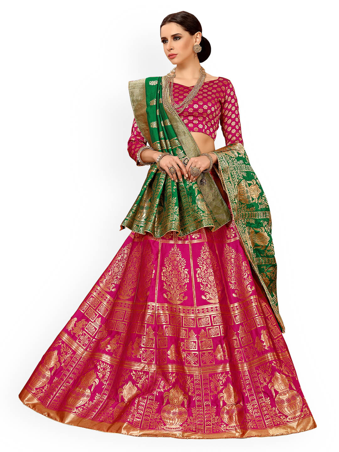 Chhabra 555 Magenta & Green Embellished Silk Unstitched Lehenga & Blouse with Dupatta Price in India