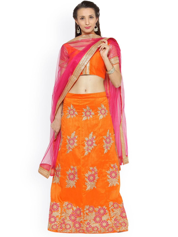 Chhabra 555 Orange & Pink Semi-Stitched Lehenga Choli with Dupatta Price in India