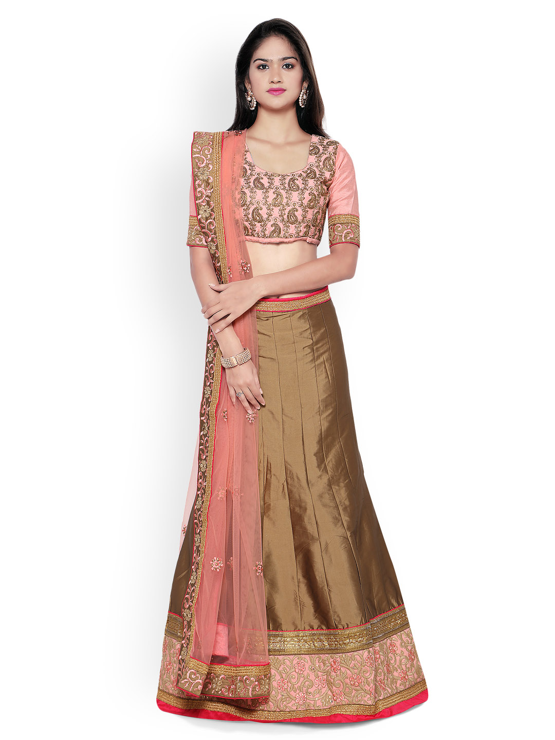 Aasvaa Brown & Peach-Coloured Embroidered Silk Semi-Stitched Lehenga Choli with Dupatta Price in India
