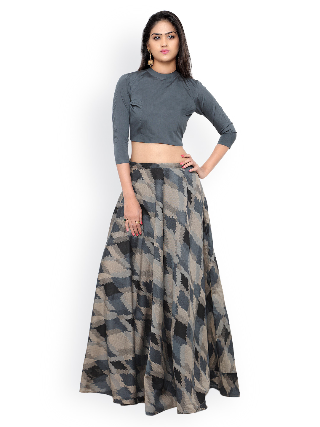 Inddus Grey & Black Ikat-Woven Banarasi Cotton Semi-Stitched Lehenga Choli Price in India